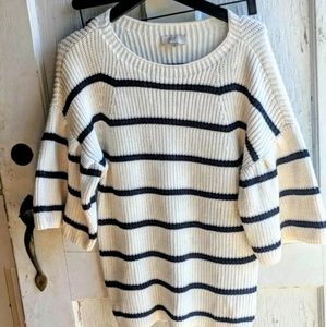 Loft chunky wide sleeve striped knit sweater S